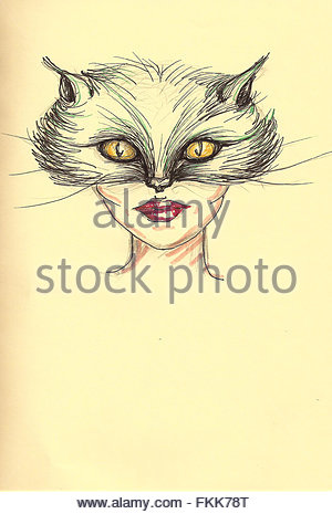 Pencil drawing cat mask on fashion girl face with yellow old paper background. Woman portrait. Funny creatures. - Stock Photo