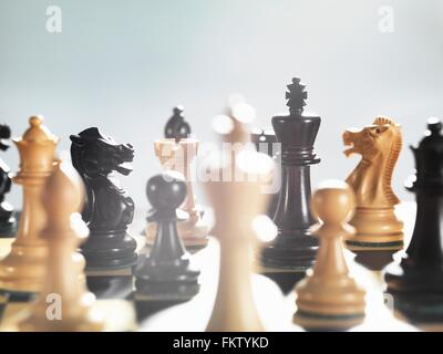 Selective focus close up of chess game and chess pieces - Stock Photo