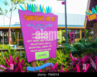 Sign at the Banana Beach cook-out, Aquatica, Florida. - Stock Photo