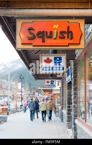 Tourist shops and signs in the main street banff avenue for Asian cuisine ocean view nj