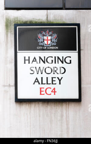 Street name sign for Hanging Sword Alley in the City of London. - Stock Photo