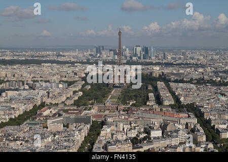 View towards the Eiffel Tower in Paris, France viewed from the Tour Montparnasse. - Stock Photo