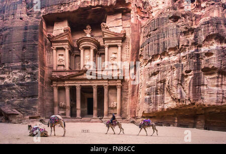Treasury building, Petra, Jordan - Stock Photo