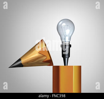 Idea pencil concept as an open drawing instrument with an emerging bright illuminated lightbulb or light bulb as - Stock Photo