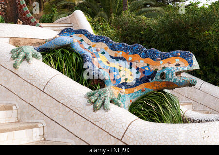 Lizard Fountain at Park Guell in Barcelona - Spain. - Stock Photo