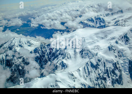 Mount Cook and the Southern Alps from above - Stock Photo