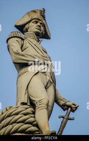 Nelson's Column is a monument in Trafalgar Square in central London built to commemorate Admiral Horatio Nelson - Stock Photo