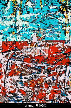Abstract painting in red and blue  colors, showing textures of distressed wood and distant horizon line . - Stock Photo