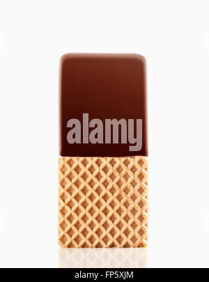 Ice cream sandwich with chocolate topping isolated on white background - Stock Photo