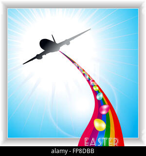 Airplane Releasing Easter Eggs Over a Rainbow on Blue Sky Panel - Stock Photo