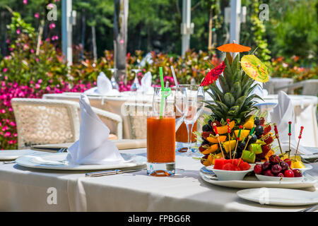 Served with a fruit composition - Stock Photo