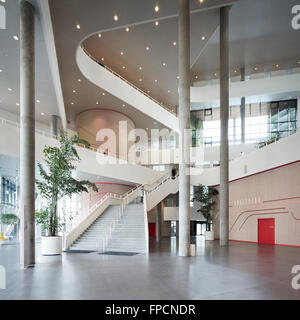 An interior view of the staircase of Kolding Campus building. Designed by Henning Larsen Architects. - Stock Photo