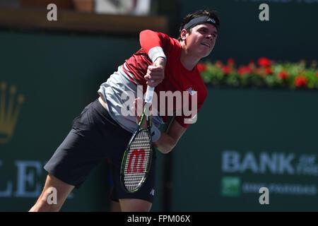 Indian Wells, California USA. 19th Mar, 2016. BNP Paribas tennis tournament, Mens semi-finals. Milos Raonic (Can) - Stock Photo
