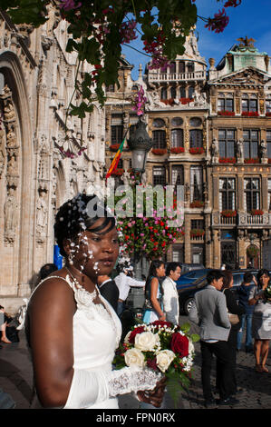 Wedding in the Hôtel de Ville, Brussels, Belgium. The town hall, which occupies the southwest façade is the only - Stock Photo