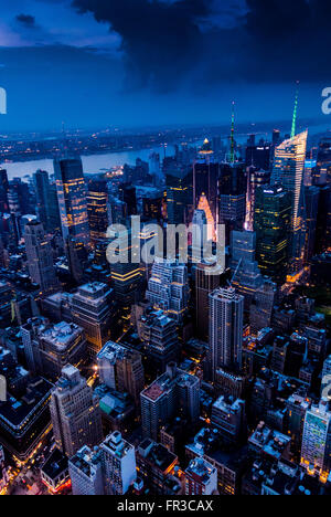 View towards West New York across Hudson River from Empire State Building, New York City, USA. - Stock Photo