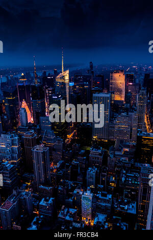 View towards Upper Manhattan from Empire State Building, New York City, USA. - Stock Photo