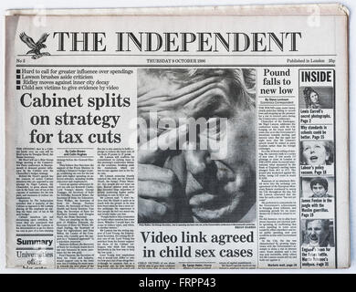 Upper front page Issue #3 'The Independent' UK national newspaper printed Thursday 9th October 1986 - 'The Independent' - Stock Photo