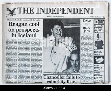 Upper front page Issue #4 'The Independent' UK national newspaper printed Friday 10th October 1986 - 'The Independent' - Stock Photo