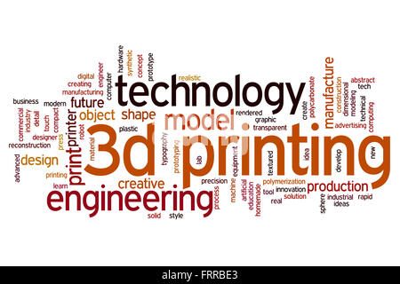 3D printing concept word cloud background - Stock Photo