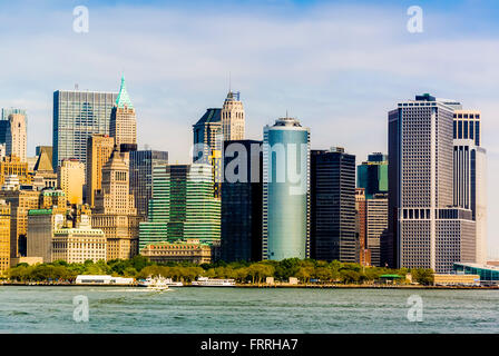Battery Park, Lower Manhattan, New York city, USA, viewed from Upper Bay harbor - Stock Photo