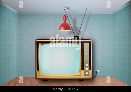 Wide Retro television in an empty room, static station.Digital composite - Stock Photo