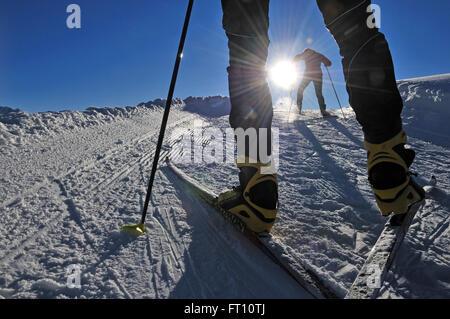 Cross-country skiers, Winklmoosalm, Reit im Winkl, Chiemgau, Bavaria, Germany - Stock Photo