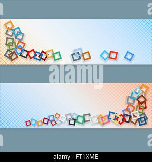 Abstract graphic, design web banner; Header layout template; Set of banners with colorful squares mosaic throwing - Stock Photo