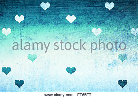 Grunge cyan blue color textured wall detail with lovely Valentine's Day Heart shapes illustration background. Lovely - Stock Photo
