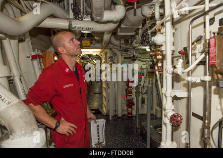 150530-N-XB010-014 SOUDA BAY, Greece (May 30, 2015) Damage Controlman 1st Class Robert Montrois, from Watertown, - Stock Photo