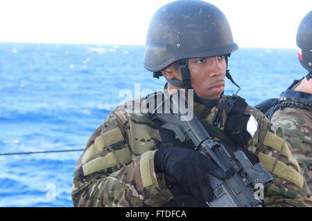 150831-N-ZZ999-001 MEDITERRANEAN SEA (Aug. 31, 2015) Quartermaster 3rd Class Cole Murphy, from Jamaica, New York, - Stock Photo