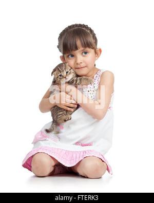 Child little girl hugging kitten. isolated on white background - Stock Photo
