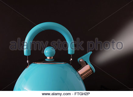 Closeup of boiling kettle steam coming from the spout against black background - Stock Photo