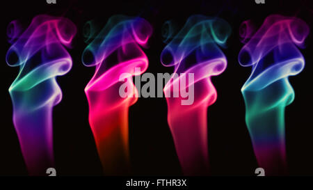 Abstract Multicolored smoke on a black background - Stock Photo