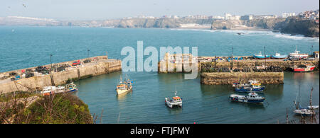 A panoramic view of Newquay Harbour in Cornwall. - Stock Photo