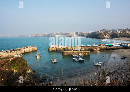 Newquay harbour in Cornwall. - Stock Photo