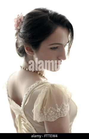 Young historical brunette woman - Stock Photo