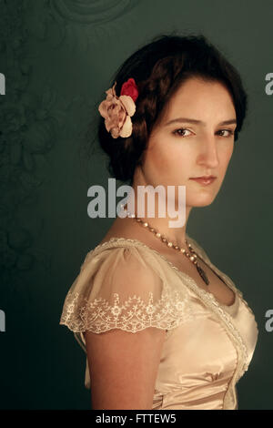 Young historical brunette woman - Stockfoto