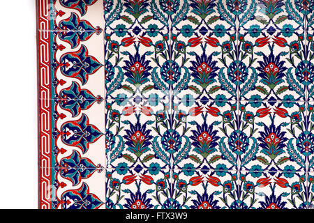 Blue and red tiles, traditional flower design - Stock Photo