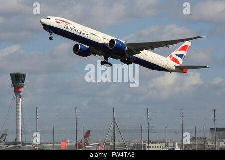 British Airways Boeing 777-36NER G-STBE taking off at Heathrow Airport, London, UK - Stock Photo