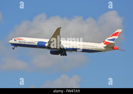 British Airways Boeing 777-36NER G-STBE taking off at Heathrow Airport, London, UK - Stock Photo