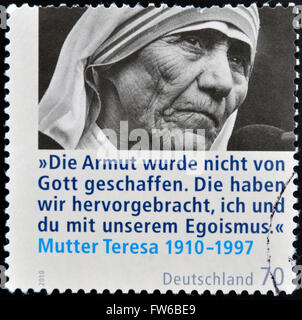GERMANY - CIRCA 2010: A stamp printed in Germany shows mother Teresa, circa 2010 - Stockfoto