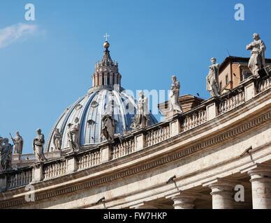 Italy, Lazio, Rome, Vatican City: Dome Of St. Peter Basilica Bernini's Colonnade. Low Angle View. - Stock Photo