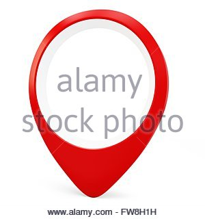 3d red round pointer locator on white background - Stock Photo