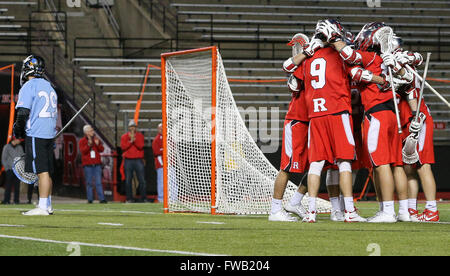Piscataway, NJ, USA. 2nd Apr, 2016. The Rutgers Scarlet Knights celebrate Adam Charalambides (9) goal during an - Stock Photo