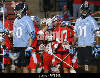 Piscataway, NJ, USA. 2nd Apr, 2016. The Scarlet Knights celebrate Scott Bieda's (47) goal during an NCAA Lacrosse - Stock Photo