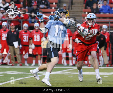 Piscataway, NJ, USA. 2nd Apr, 2016. Johns Hopkins Kieran Eissler (11) winds up to take a shot during an NCAA Lacrosse - Stock Photo