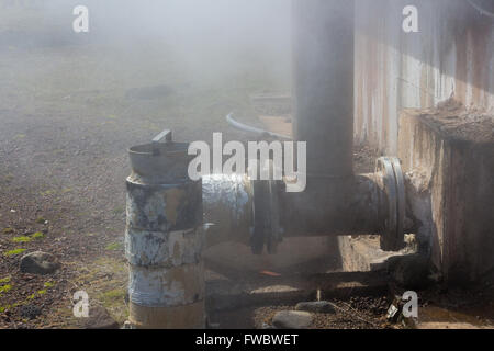 steam pipes on a geothermal vent - Stock Photo