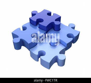 Four Jigsaw Puzzle Pieces Blue on White Background - Stock Photo