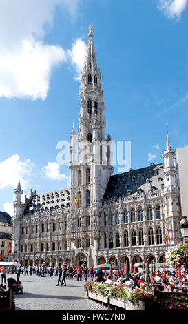The Medieval Town Hall / Hotel De Ville Stadhuis in Grand Place, Brussels, Belgium. - Stock Photo