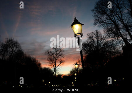 street light at night on a background of the sky on the Esplanade in Helsinki, Finland - Stock Photo